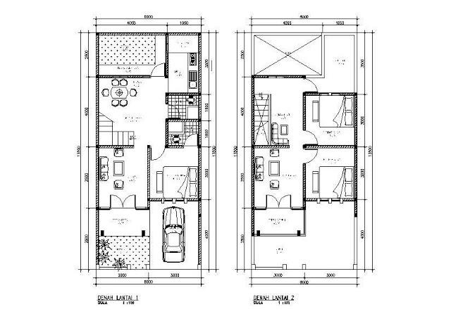 Denah Rumah Minimalis 2lantai Type 45 Bidan